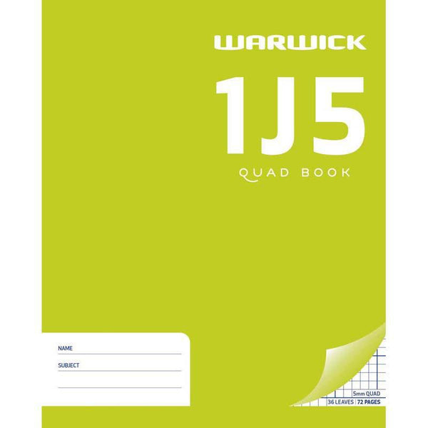 Warwick Exercise Book 1J5 36 Leaf Quad 5mm 255x205mm - Office Connect