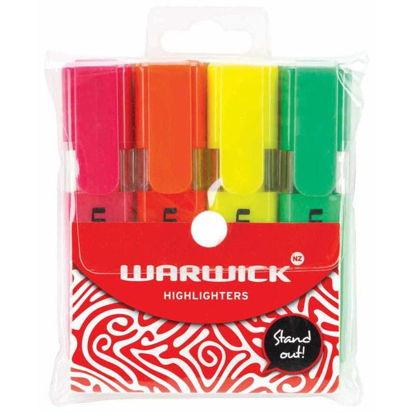 Warwick Highlighter Stubby Assorted 4 Pack - Office Connect