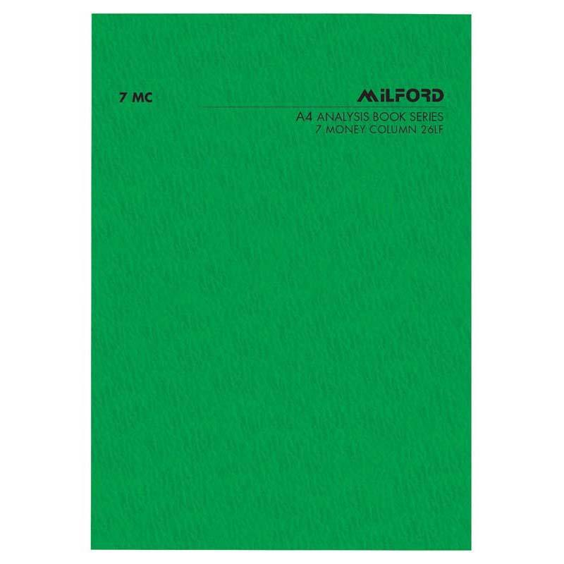 Milford FSC Mix 70% A4 7 Money Column 26 Leaf Limp Analysis Book - Office Connect