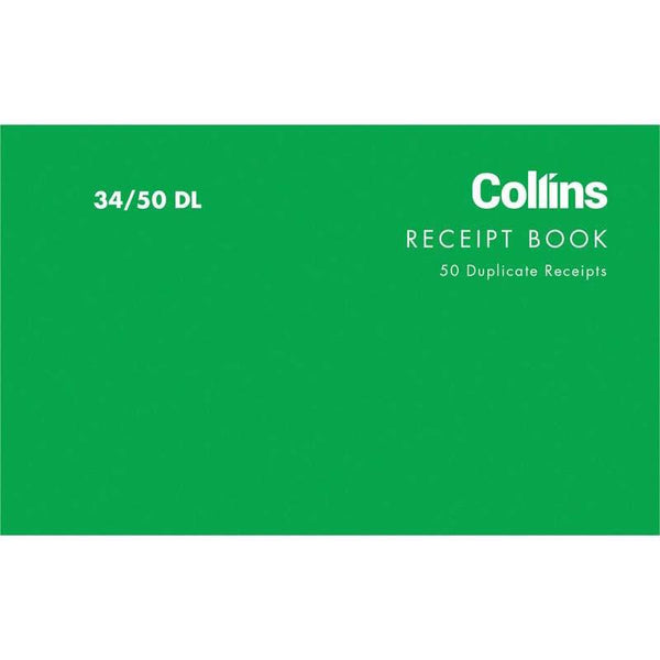 Collins Cash Receipt 34/50DL Duplicate Carbon Required - Office Connect