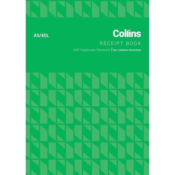 Collins Cash Receipt A5 4DL 100 Leaf Duplicate No Carbon Required - Office Connect
