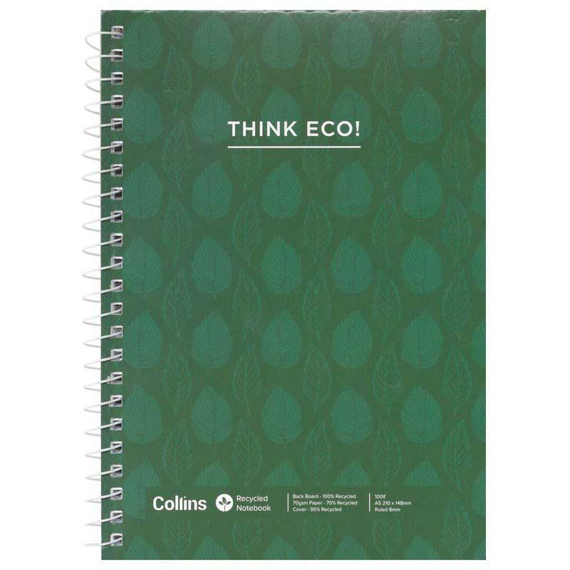 Collins Notebook Spiral A5 Recycled Side Opening 100 Leaf - Office Connect