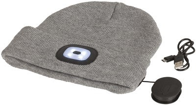 Grey Beanie with Bluetooth® Speakers and LED Torch - Office Connect