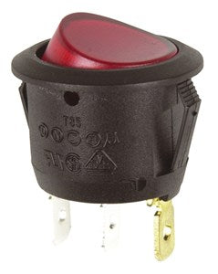 SPST Round Red Illuminated Actuator Rocker Switch