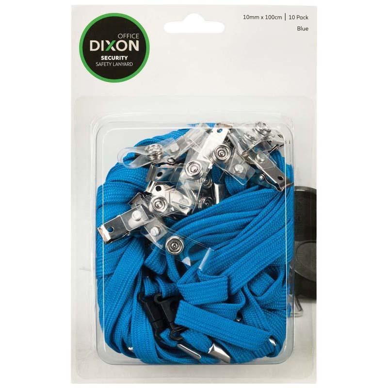 Dixon Lanyard Blue Pack 10 Flat Hangsell - Office Connect