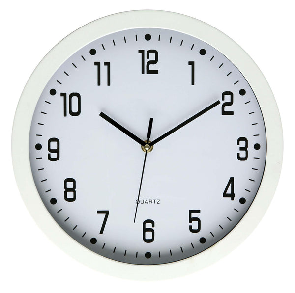 Dixon Clock Wall Round Glass Face White 30cmx30cm - Office Connect