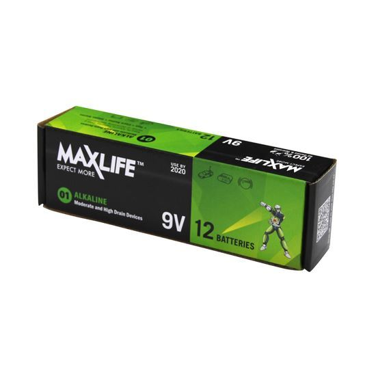 MAXLIFE 9V Alkaline Battery 12 BULK Pack - Office Connect