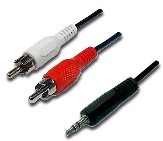 DYNAMIX 5m Stereo 3.5mm Plug to 2 RCA Plug, Cable - Office Connect