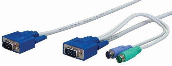 REXTRON 6m, 3-to-1 PS2 KVM Switch Cable All in one - Office Connect