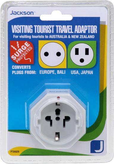 JACKSON 1x Outlet Travel Adaptor with Surge Protection. - Office Connect