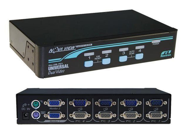 REXTRON 1-4 USB/PS2 Dual Video (VGA) KVM Switch. 4x - Office Connect