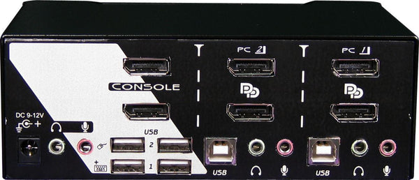 REXTRON 2 Port Dual DisplayPort USB KVM Switch with - Office Connect