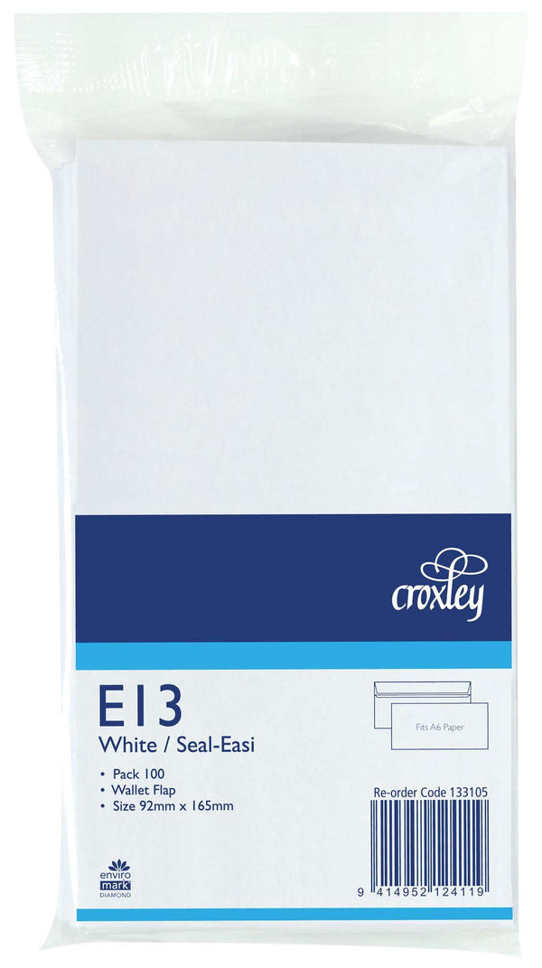 Croxley Envelope E13 Seal Easi 100 Pack - Office Connect
