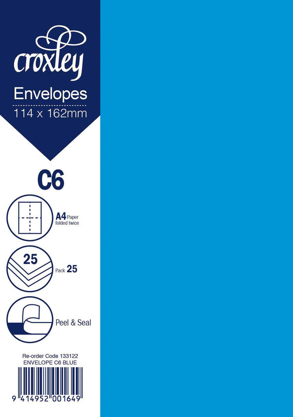 Envelope C6 Blue 114x162mm Pack 25 - Office Connect