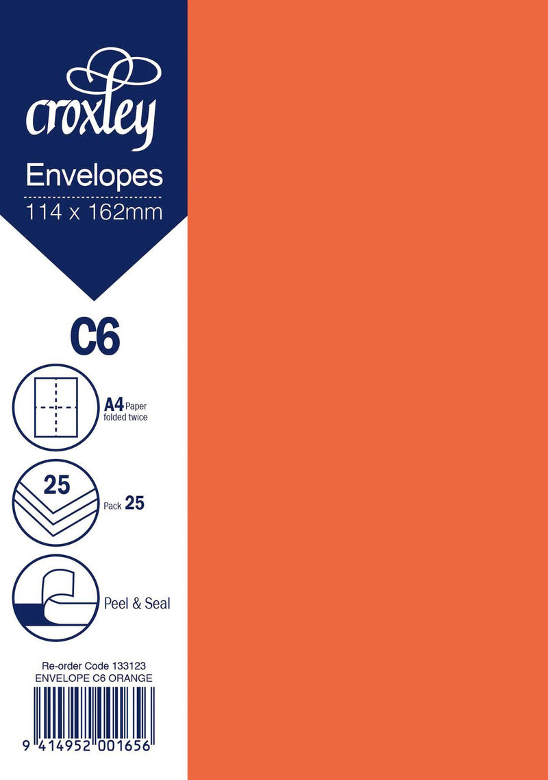 Envelope C6 Orange 114x162mm Pack 25 - Office Connect