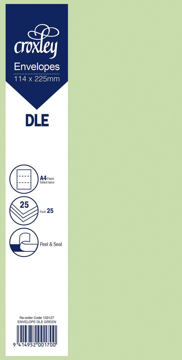 Envelope DLE Green 114x225mm Pack 25 - Office Connect