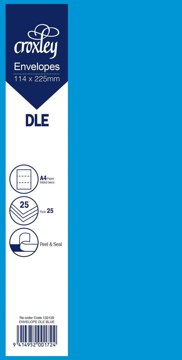 Envelope DLE Blue 114x225mm Pack 25 - Office Connect