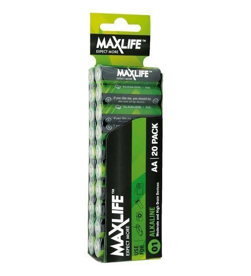 MAXLIFE AA Alkaline Battery 20 Pack Long Lasting Alkaline - Office Connect