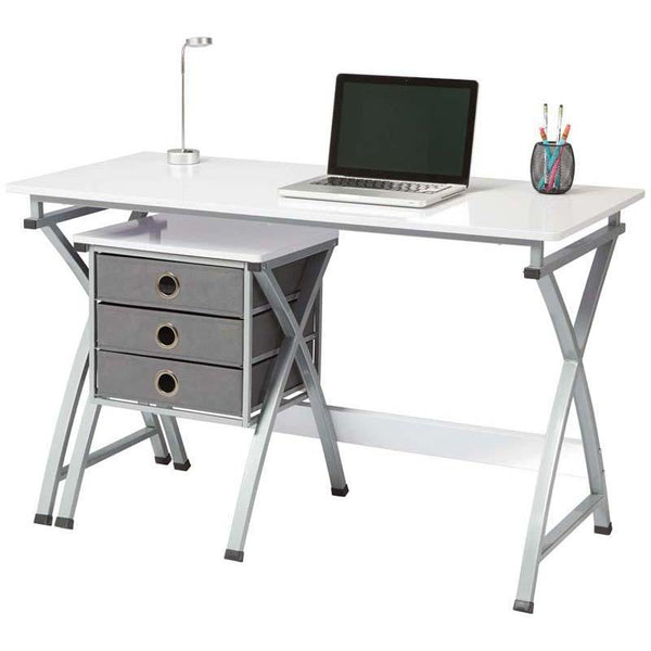 Brenton Desk X-Cross White With Filing Unit - Office Connect