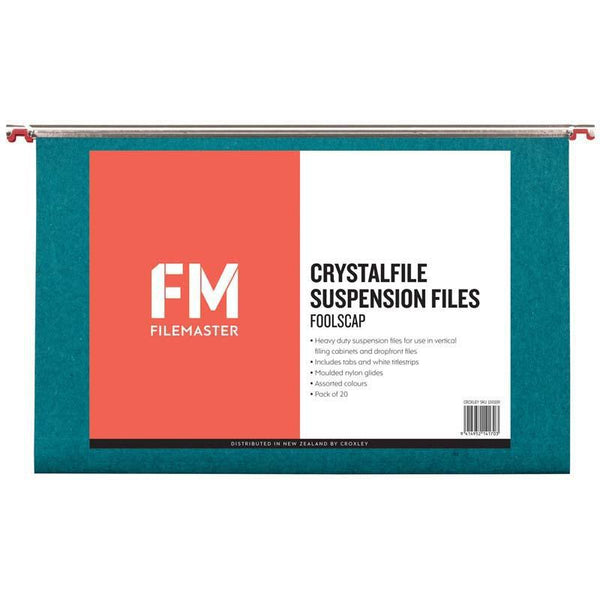 FM File Suspension Crystalfile Rainbow 20 Pack Foolscap - Office Connect