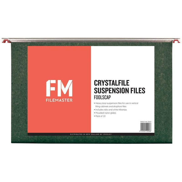 FM File Suspension Crystalfile Green 10 Pack Foolscap - Office Connect