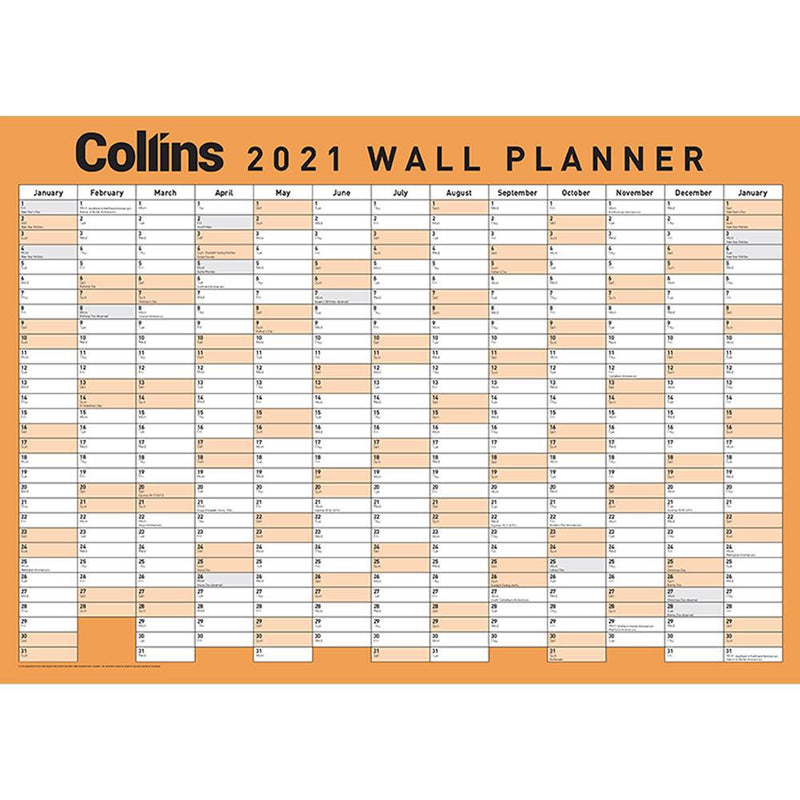 Collins Wallplanner A3 Laminated Odd Year - Office Connect