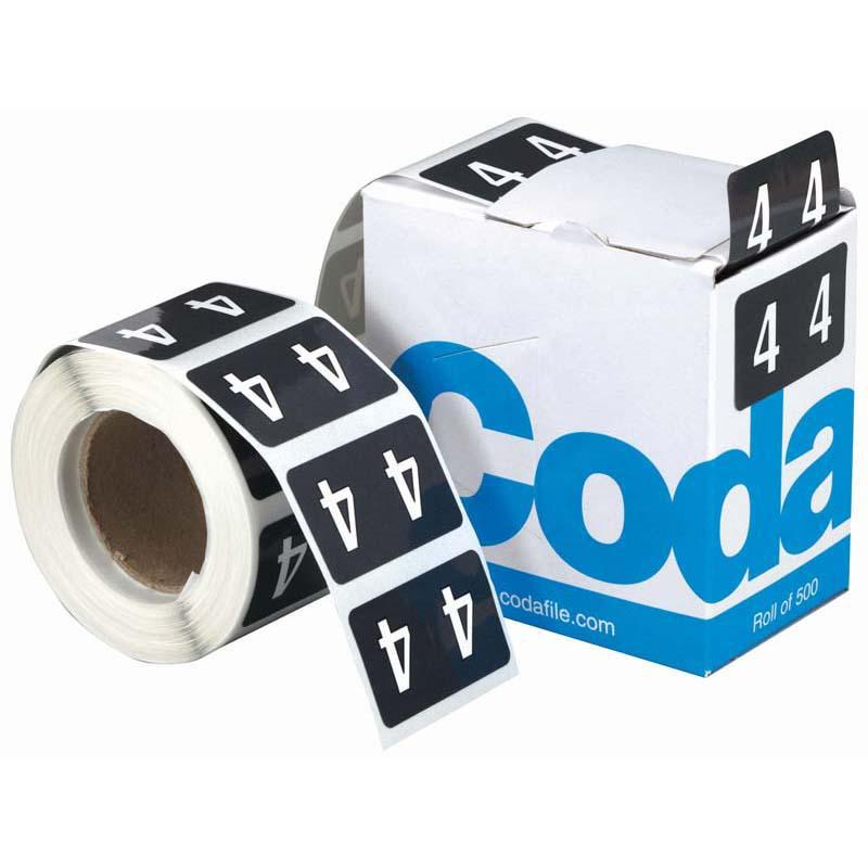 Codafile Label Numeric 4 25mm Roll 500 - Office Connect