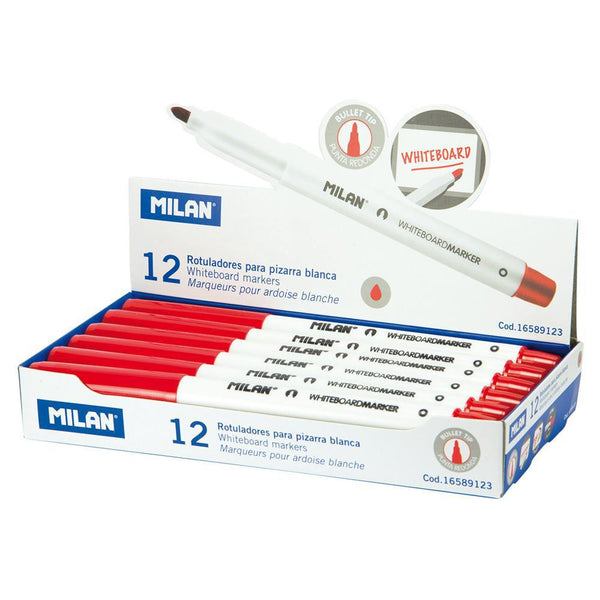 Milan Whiteboard Markers Fine Bullet Tip 3.7mm Red - Office Connect