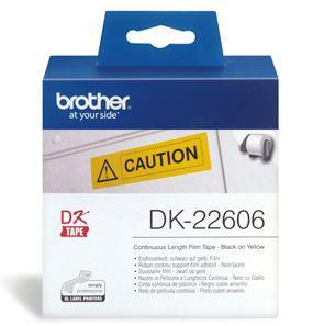 Brother DK22606 Continuous Paper Tpe (Blk Pnt on Yellow) 62mm x 15.24m - Office Connect