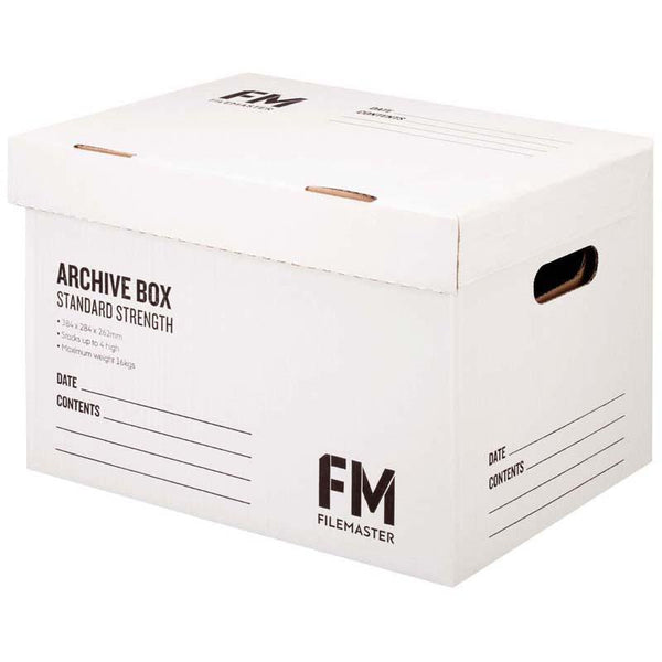 FM Box Archive White Standard Strength 384x284x262mm Inside Measure - Office Connect