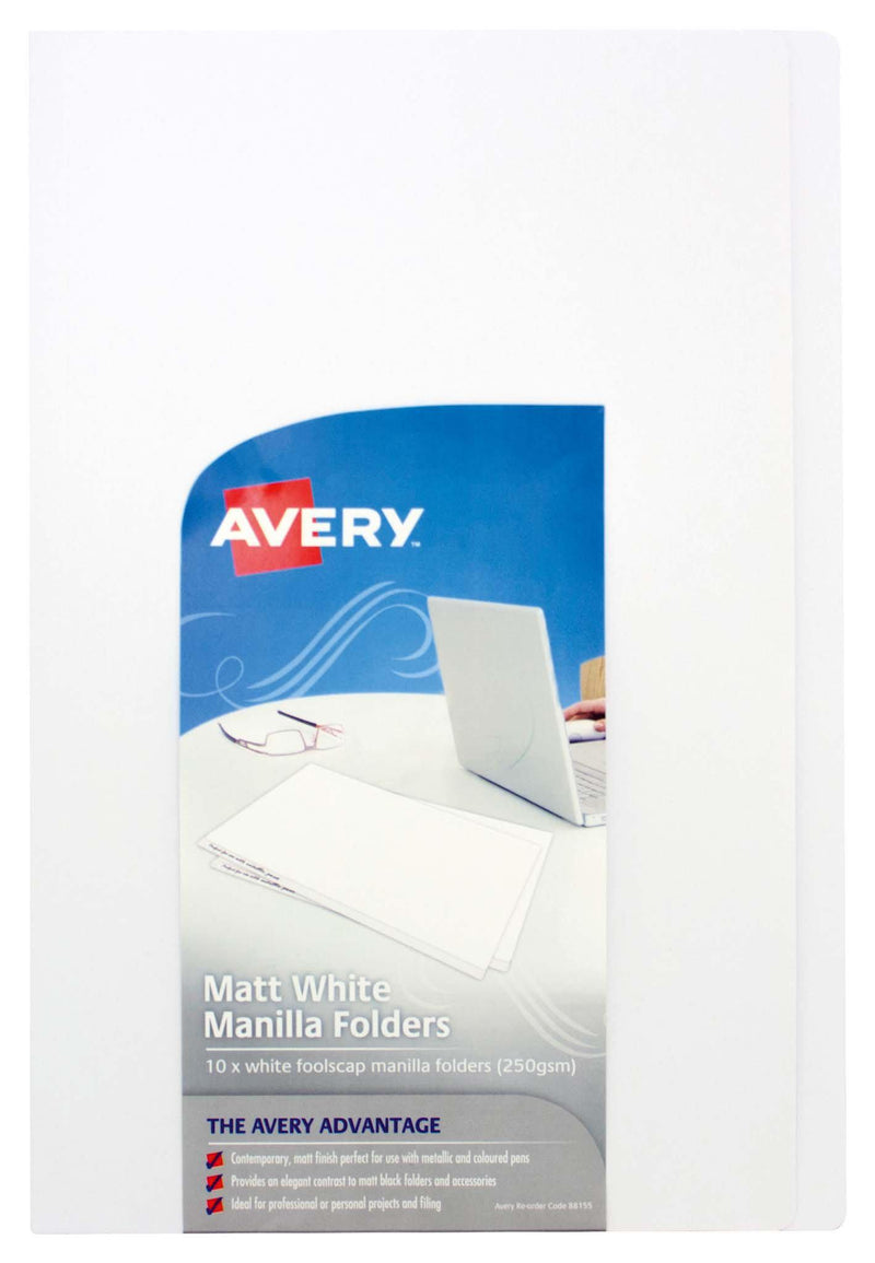 Avery File Folder White 250gsm Foolscap Pack 10 - Office Connect