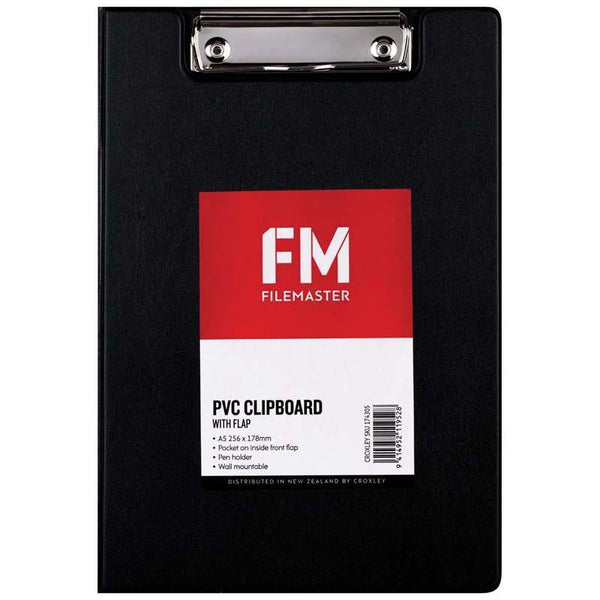 FM Clipboard Black With Flap A5 - Office Connect