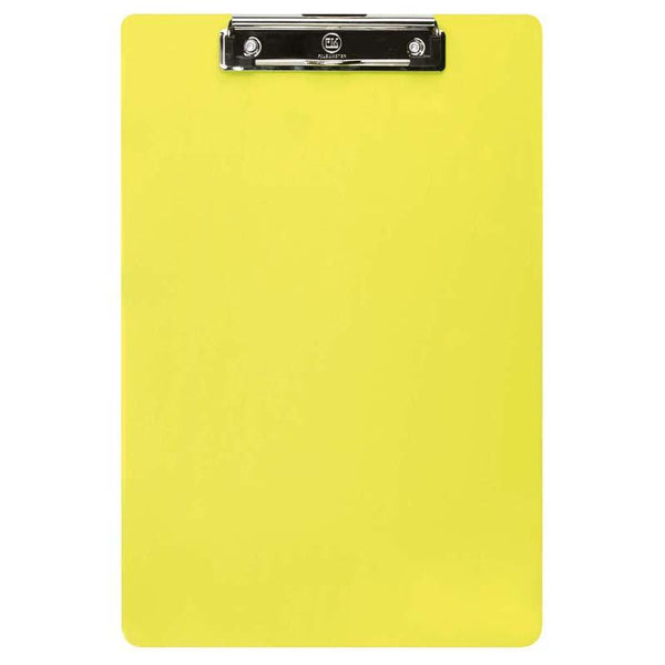FM Clipboard Neon Yellow Foolscap Transparent Plastic - Office Connect