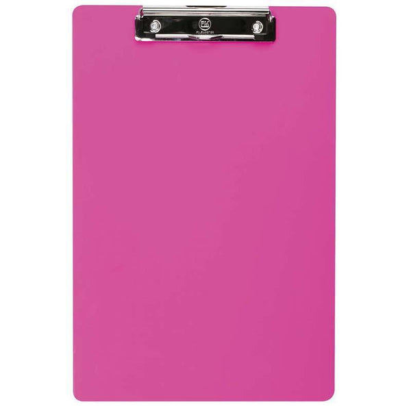 FM Clipboard Neon Pink Foolscap Transparent Plastic - Office Connect