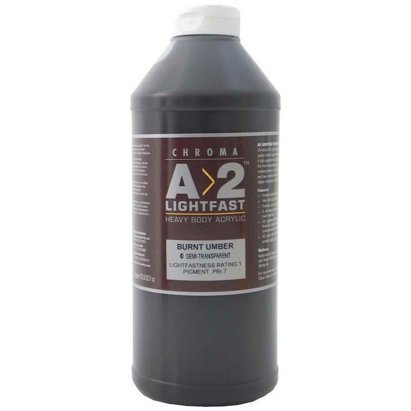 A2 Lightfast Heavybody Acrylic 1 Litre Burnt Umber - Office Connect