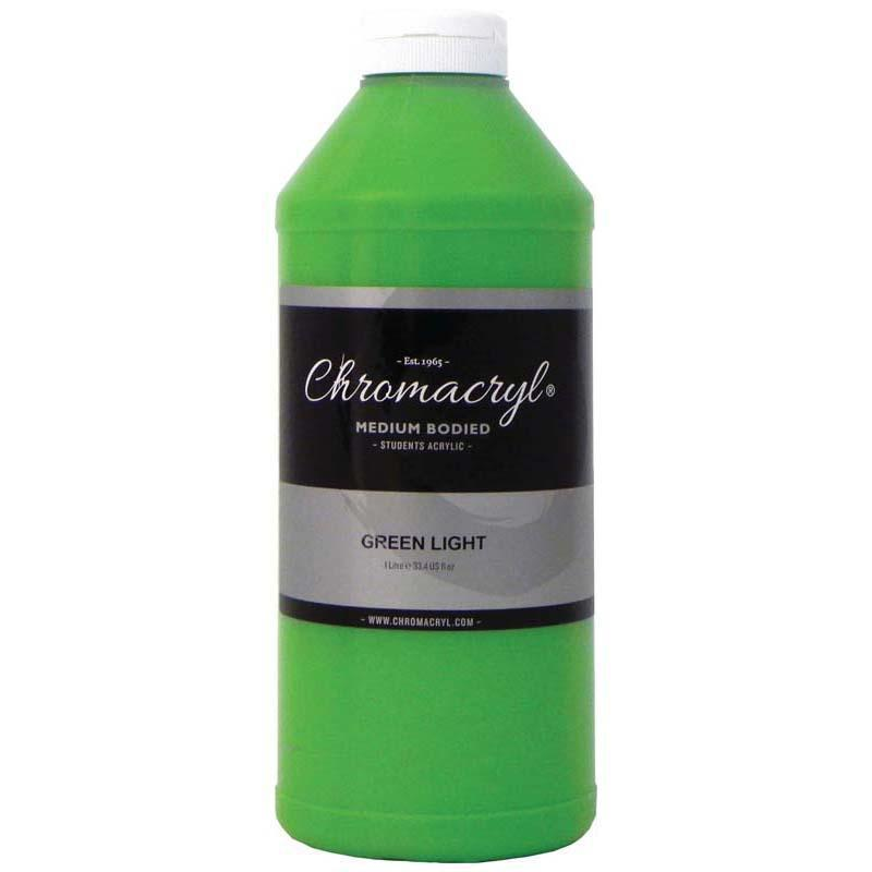 Chromacryl Acrylic Paint Student 1 Litre Light Green - Office Connect
