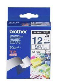 Brother TZe-FA3 12mm x 3m Blue on White Fabric Tape - Office Connect