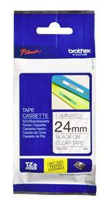 Brother TZe-151 24mm x 8m Black on Clear Tape - Office Connect
