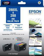 Epson 288XL BK + 288 C/M/Y 4 Ink Cartridge Value Pack - Office Connect