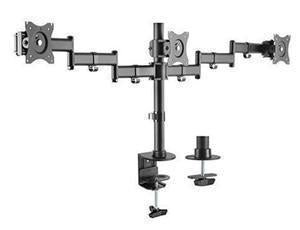 "Brateck 13-27"" Triple Monitor Stand with Clamp/Grommet Base - Office Connect"