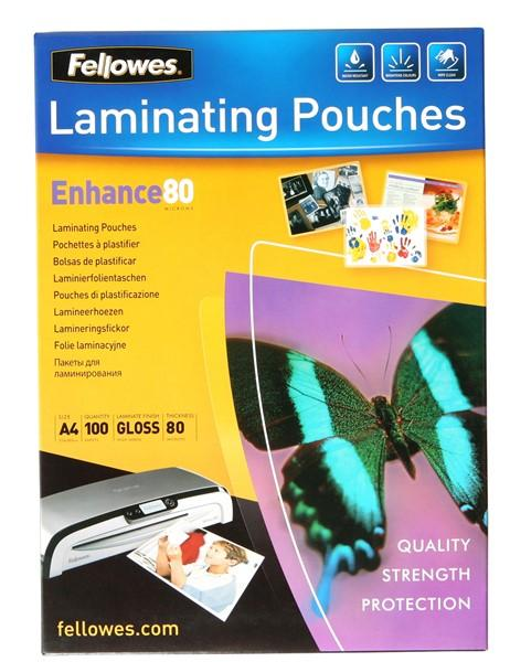 Fellowes Laminating Pouches A4 Gloss 80 Micron Pack 100 - Office Connect