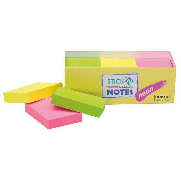Stick'n Note 38x50mm 100 Sheet Neon Assorted Pack 12 - Office Connect