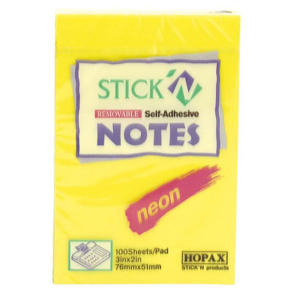 Stick'n Note 76x50mm 100 Sheet Neon Lemon - Office Connect