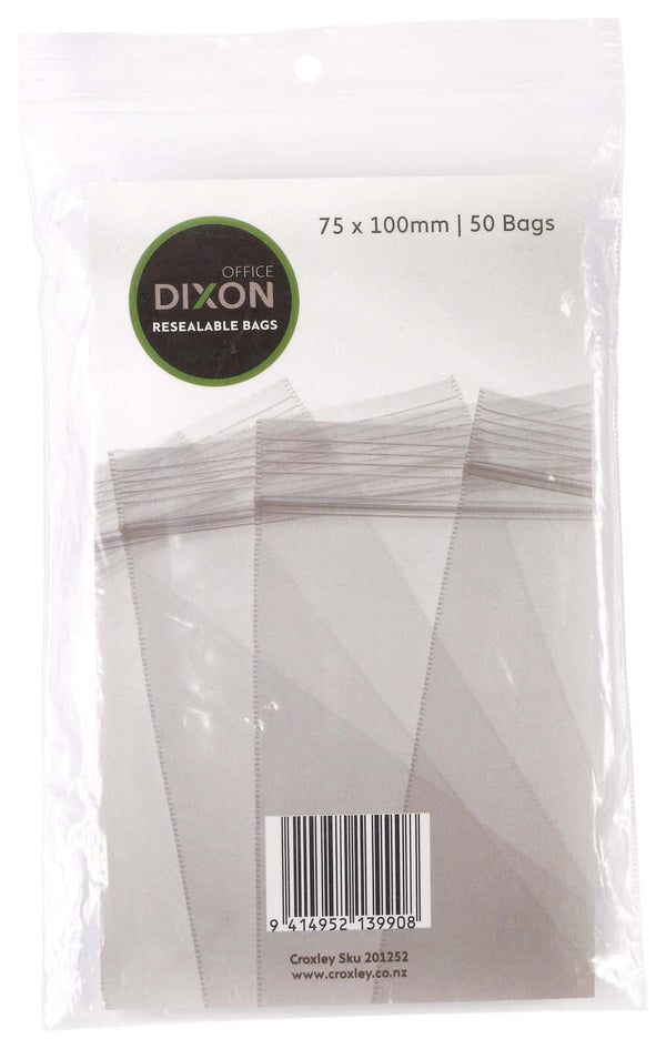 Dixon Resealable Bags Pack 50 75x100mm - Office Connect
