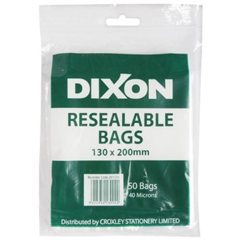 Dixon Resealable Bags Pack 50 130x200mm - Office Connect