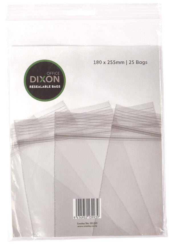 Dixon Resealable Bags Pack 25 180x255mm - Office Connect