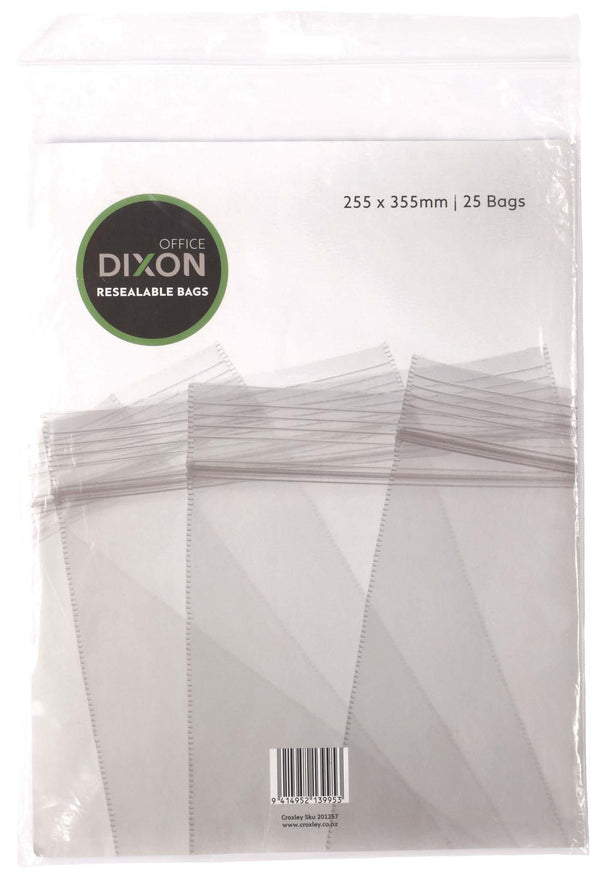 Dixon Resealable Bags Pack 25 255x355mm - Office Connect