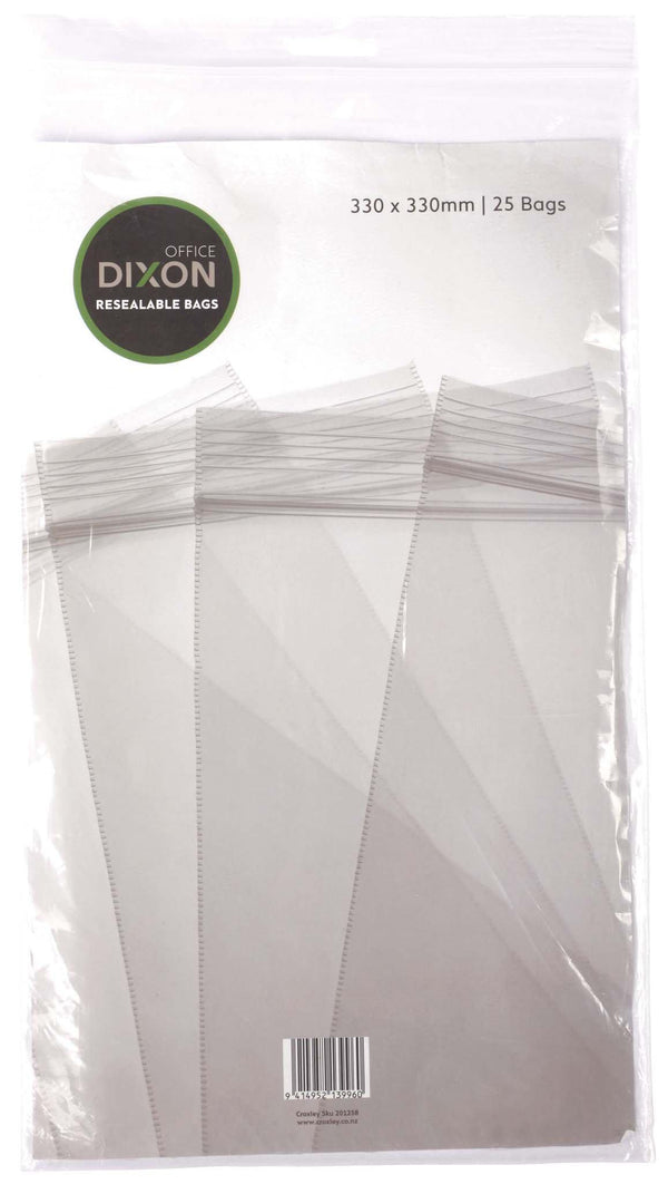 Dixon Resealable Bags Pack 25 330x330mm - Office Connect