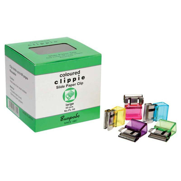 Clippie Paper Clip Slide Large Coloured Box 50 - Office Connect