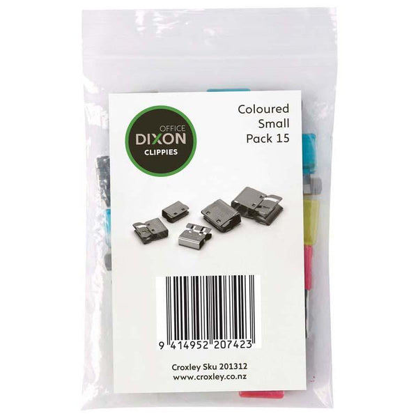 Dixon Paper Clips Clippie Coloured Small 15 Pack - Office Connect